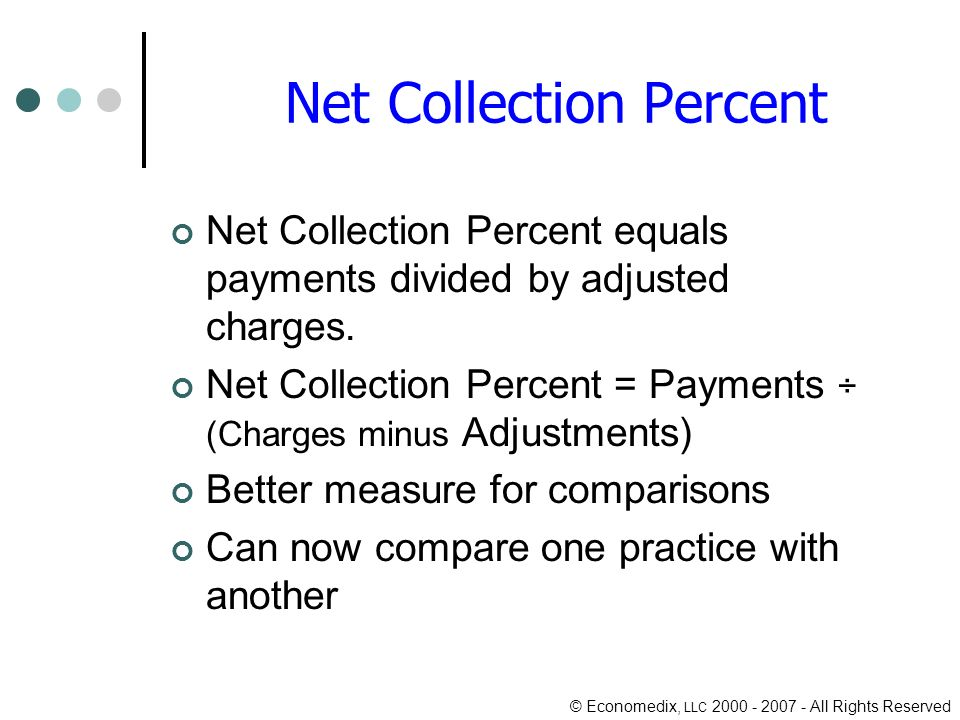 © Economedix, LLC 2000 - 2007 - All Rights Reserved Net Collection Percent Net Collection Percent equals payments divided by adjusted charges.