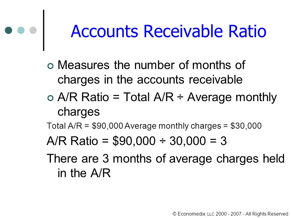 © Economedix, LLC 2000 - 2007 - All Rights Reserved Accounts Receivable Ratio Measures the number of months of charges in the accounts receivable A/R Ratio = Total A/R ÷ Average monthly charges Total A/R = $90,000 Average monthly charges = $30,000 A/R Ratio = $90,000 ÷ 30,000 = 3 There are 3 months of average charges held in the A/R