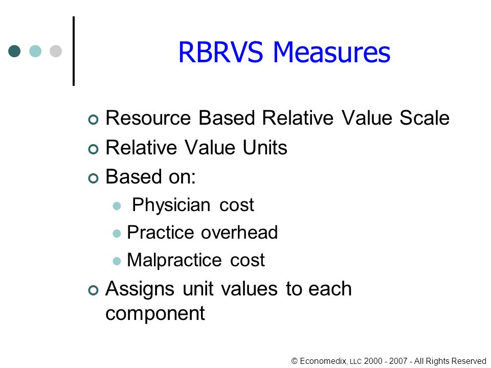 © Economedix, LLC 2000 - 2007 - All Rights Reserved RBRVS Measures Resource Based Relative Value Scale Relative Value Units Based on: Physician cost Practice overhead Malpractice cost Assigns unit values to each component