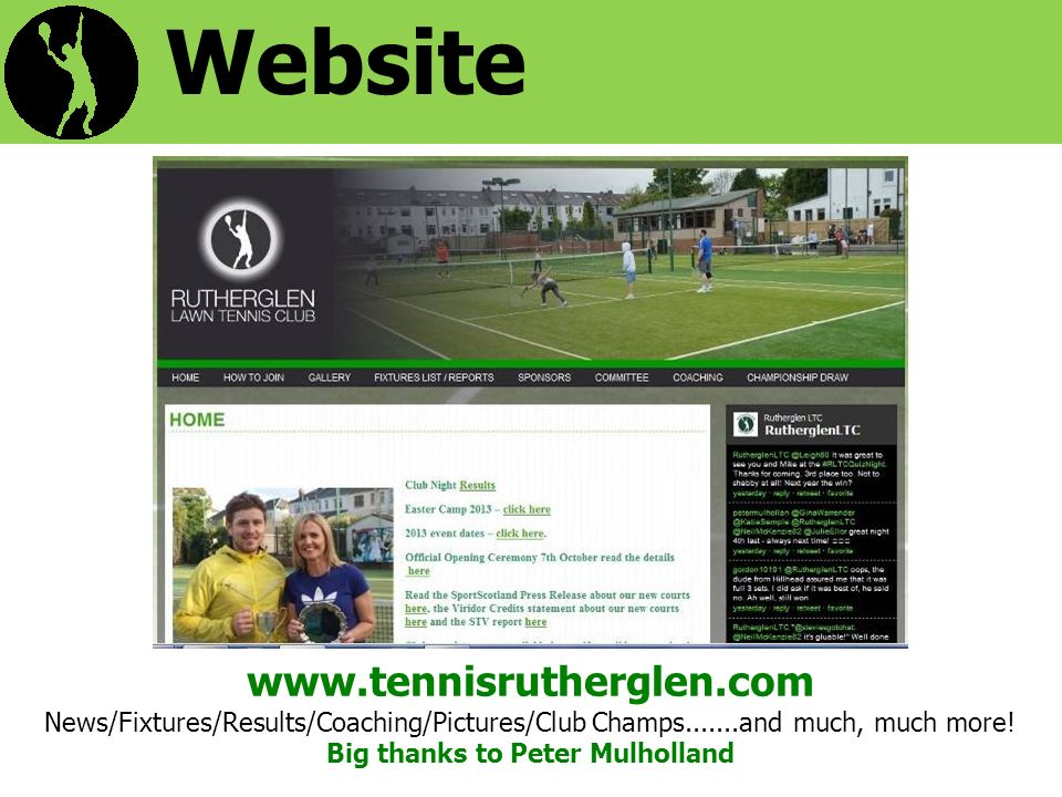 Website   News/Fixtures/Results/Coaching/Pictures/Club Champs and much, much more.