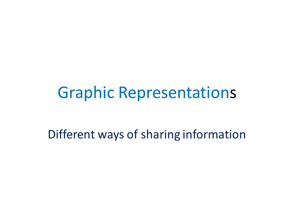 Graphic Representations Different ways of sharing information