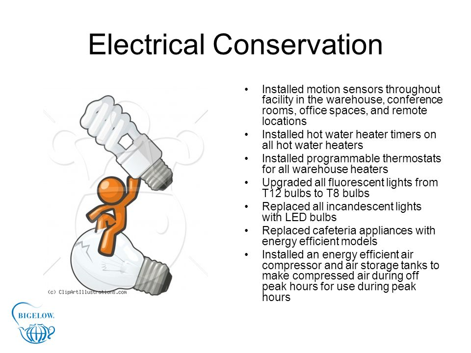 Electrical Conservation Installed motion sensors throughout facility in the warehouse, conference rooms, office spaces, and remote locations Installed