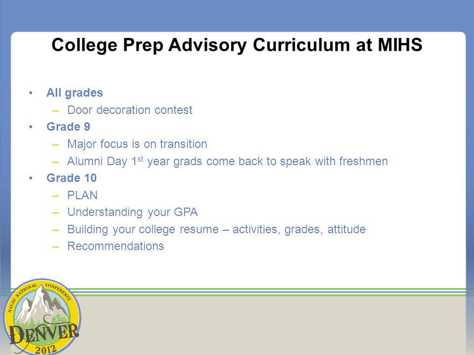 College Prep Advisory Curriculum at MIHS All grades –Door decoration contest Grade 9 –Major focus is on transition –Alumni Day 1 st year grads come back to speak with freshmen Grade 10 –PLAN –Understanding your GPA –Building your college resume – activities, grades, attitude –Recommendations