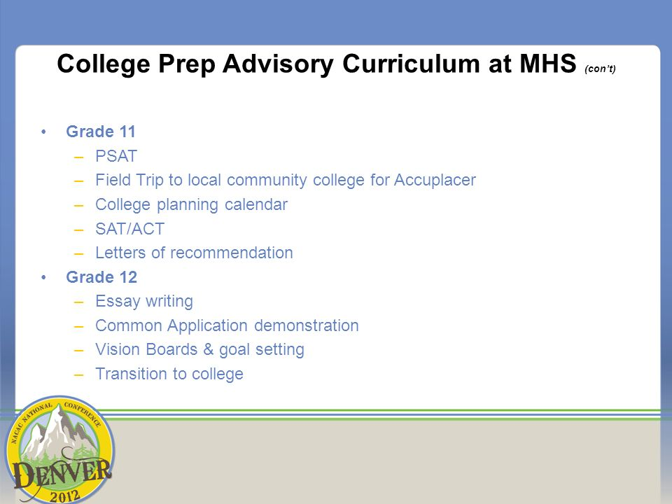 College Prep Advisory Curriculum at MHS (cont) Grade 11 –PSAT –Field Trip to local community college for Accuplacer –College planning calendar –SAT/ACT –Letters of recommendation Grade 12 –Essay writing –Common Application demonstration –Vision Boards & goal setting –Transition to college