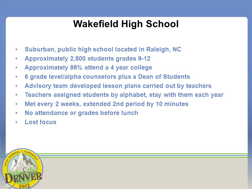 Wakefield High School Suburban, public high school located in Raleigh, NC Approximately 2,800 students grades 9-12 Approximately 86% attend a 4 year college 6 grade level/alpha counselors plus a Dean of Students Advisory team developed lesson plans carried out by teachers Teachers assigned students by alphabet, stay with them each year Met every 2 weeks, extended 2nd period by 10 minutes No attendance or grades before lunch Lost focus