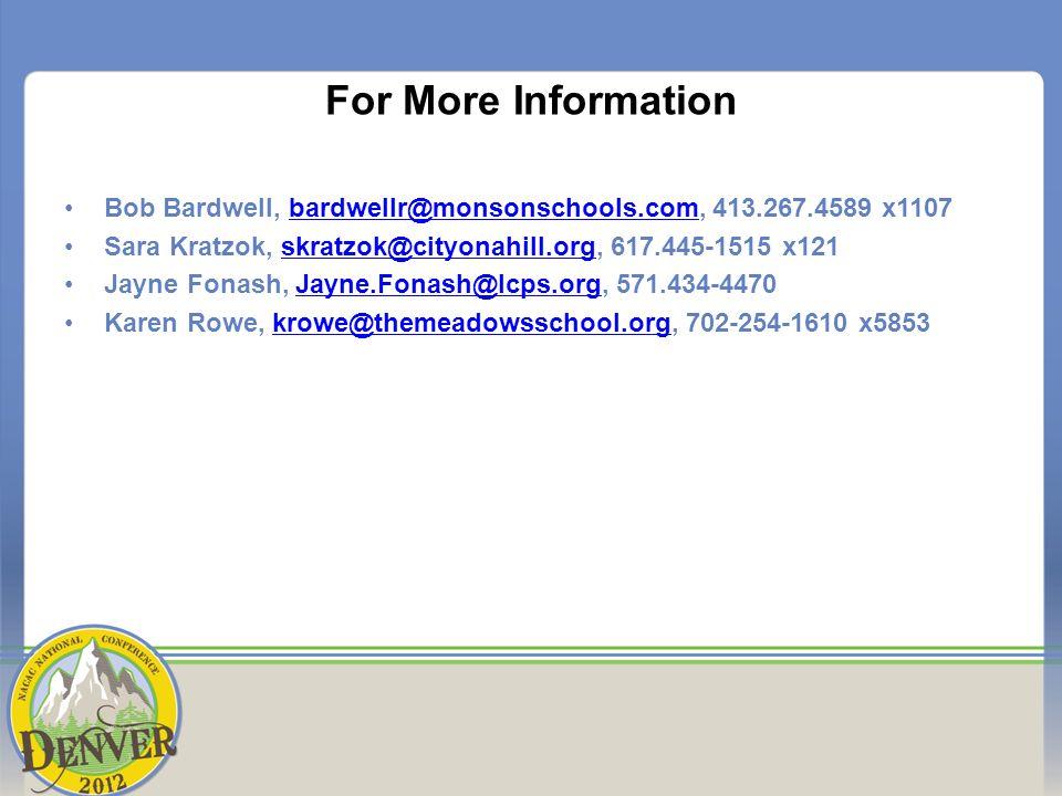 For More Information Bob Bardwell, bardwellr@monsonschools.com, 413.267.4589 x1107bardwellr@monsonschools.com Sara Kratzok, skratzok@cityonahill.org,