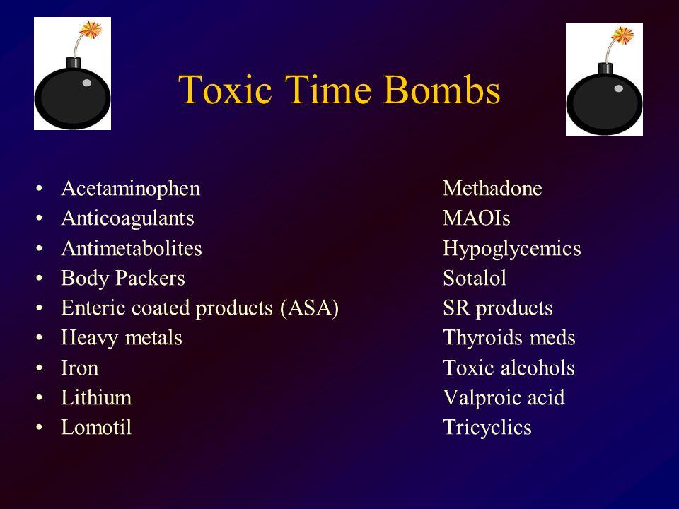 Toxic Time Bombs AcetaminophenMethadone AnticoagulantsMAOIs AntimetabolitesHypoglycemics Body PackersSotalol Enteric coated products (ASA)SR products