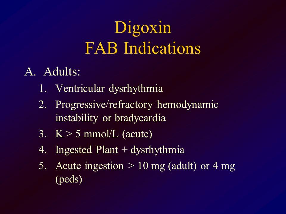 Digoxin FAB Indications A.Adults: 1.Ventricular dysrhythmia 2.Progressive/refractory hemodynamic instability or bradycardia 3.K > 5 mmol/L (acute) 4.I
