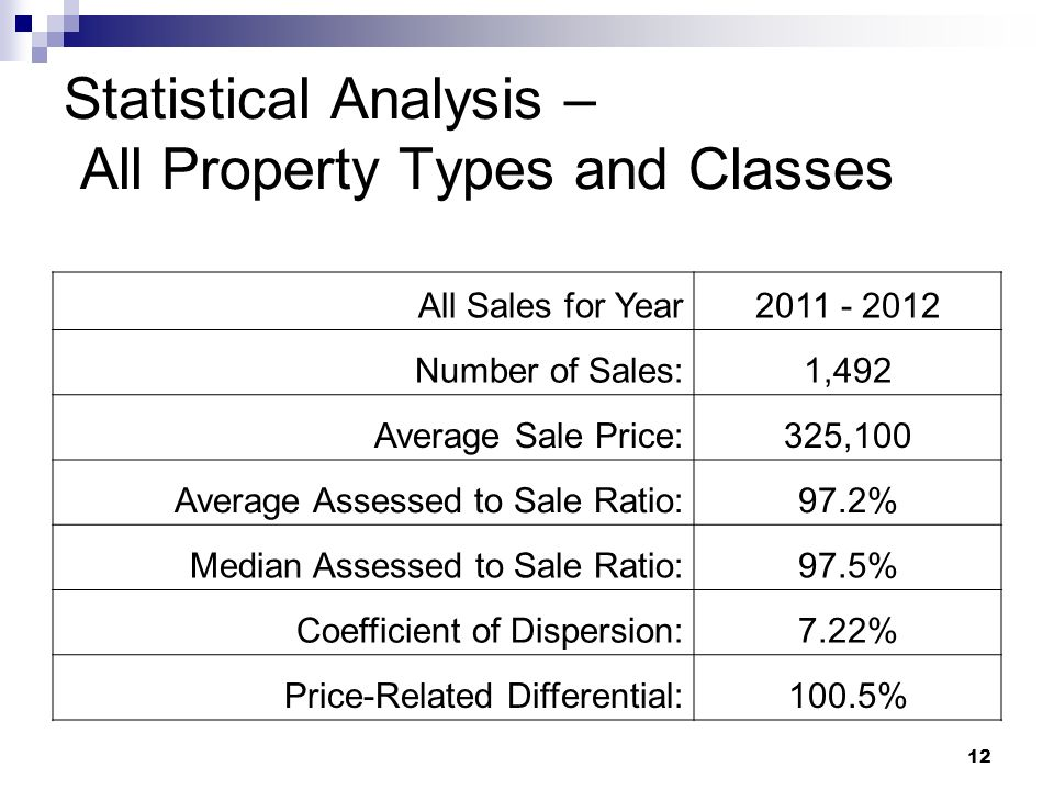 12 Statistical Analysis – All Property Types and Classes All Sales for Year2011 - 2012 Number of Sales:1,492 Average Sale Price:325,100 Average Assess