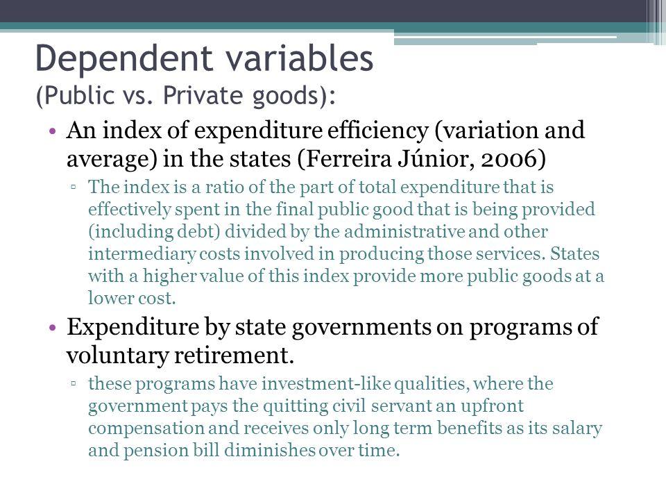 Dependent variables (Public vs.