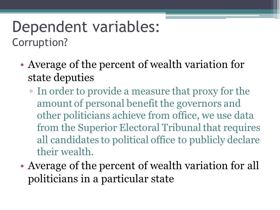 Dependent variables: Corruption.