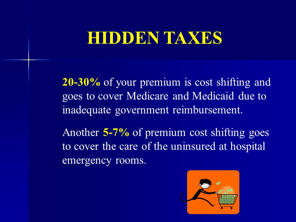20-30% of your premium is cost shifting and goes to cover Medicare and Medicaid due to inadequate government reimbursement.
