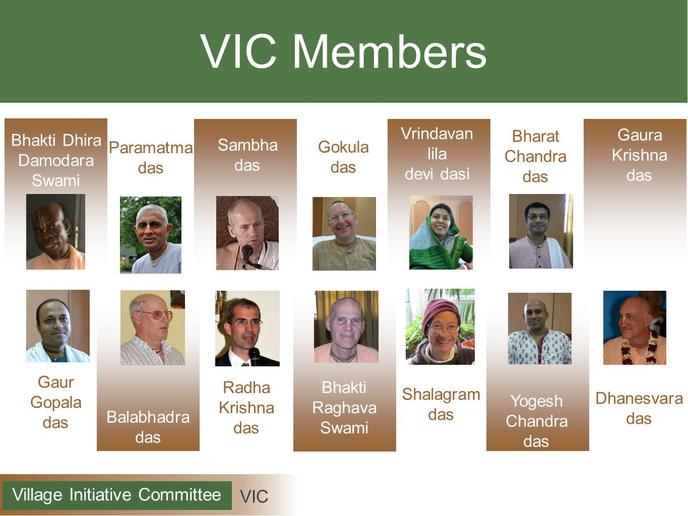 VIC Village Initiative Committee Key Areas Awareness Understand - Identify - Execute Communities Facilitate - Advise - Support Varnasrama Colleges Train - Equip - Engage
