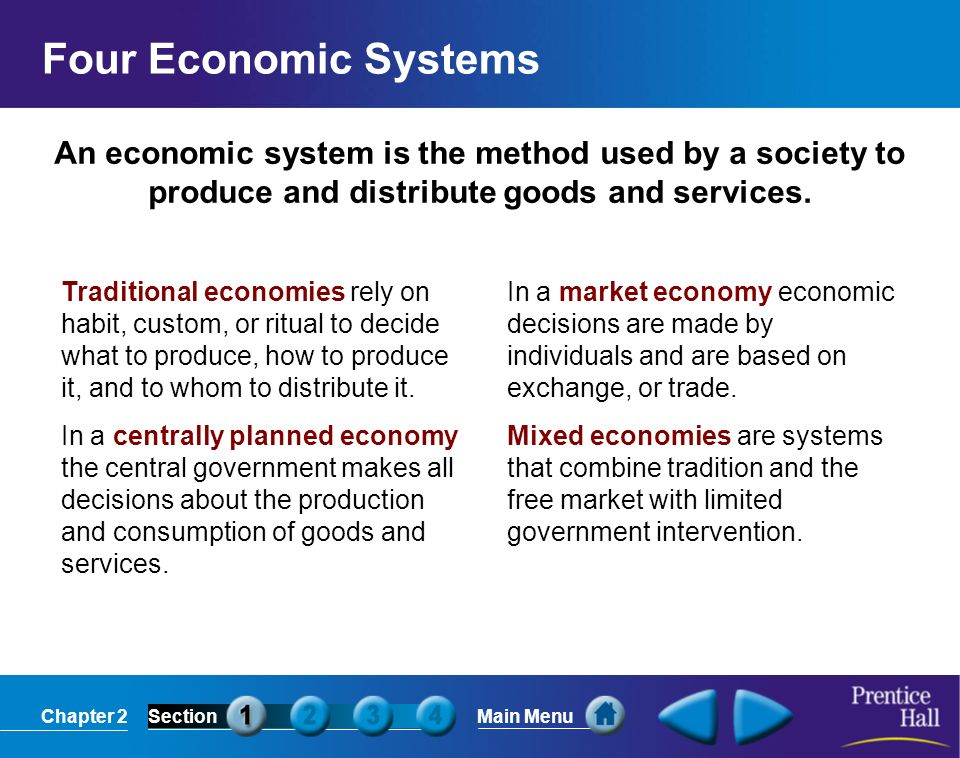 Chapter 2SectionMain Menu An economic system is the method used by a society to produce and distribute goods and services. Four Economic Systems Tradi