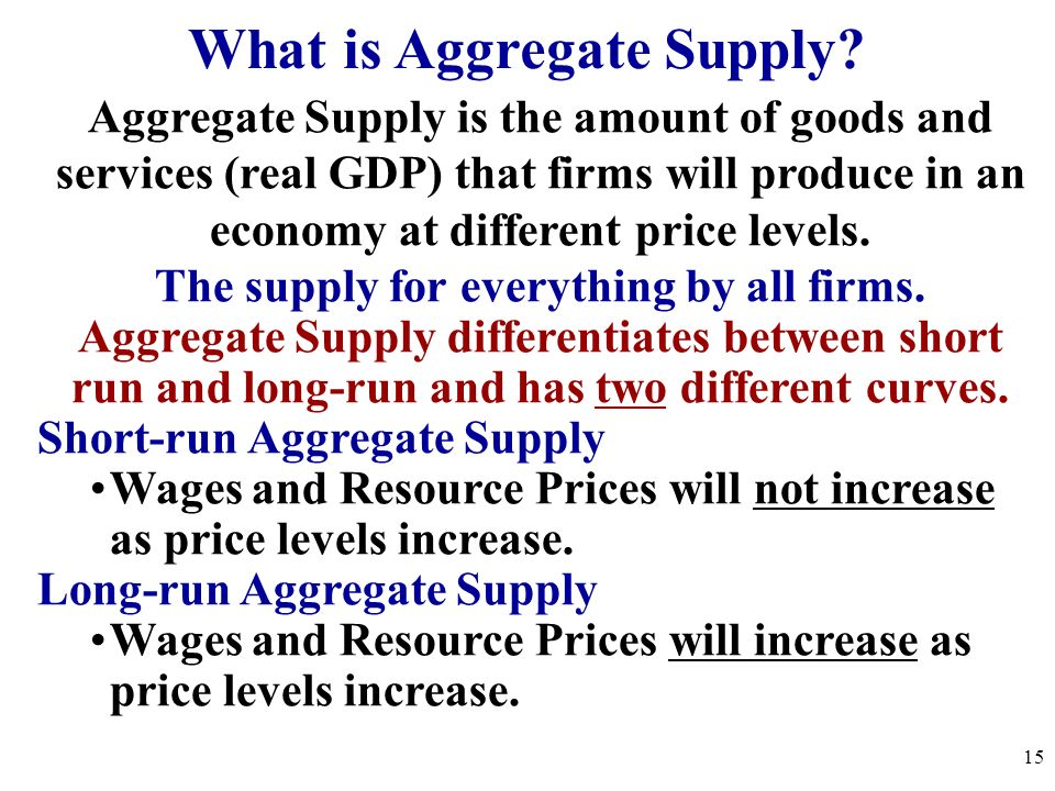 What is Aggregate Supply? Aggregate Supply is the amount of goods and services (real GDP) that firms will produce in an economy at different price lev