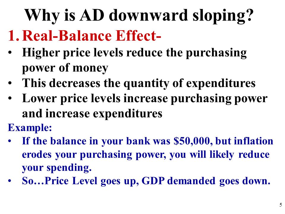 Why is AD downward sloping? 1.Real-Balance Effect- Higher price levels reduce the purchasing power of money This decreases the quantity of expenditure