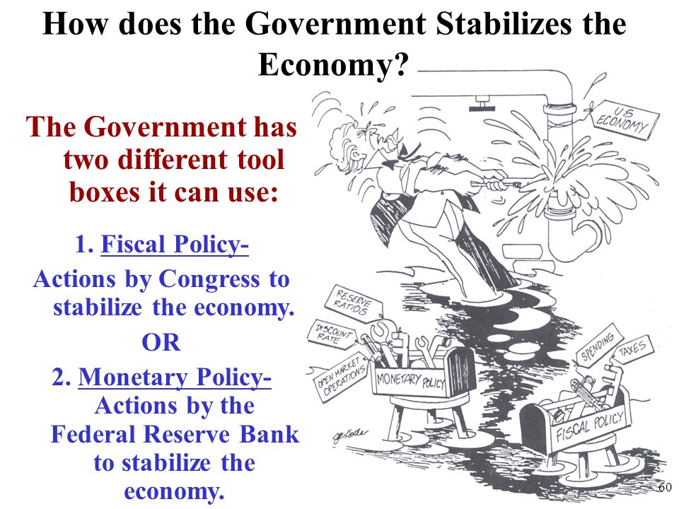 How does the Government Stabilizes the Economy? The Government has two different tool boxes it can use: 1. Fiscal Policy- Actions by Congress to stabi