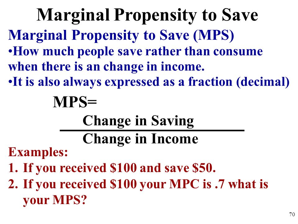 Marginal Propensity to Save MPS= Change in Saving Change in Income Marginal Propensity to Save (MPS) How much people save rather than consume when the