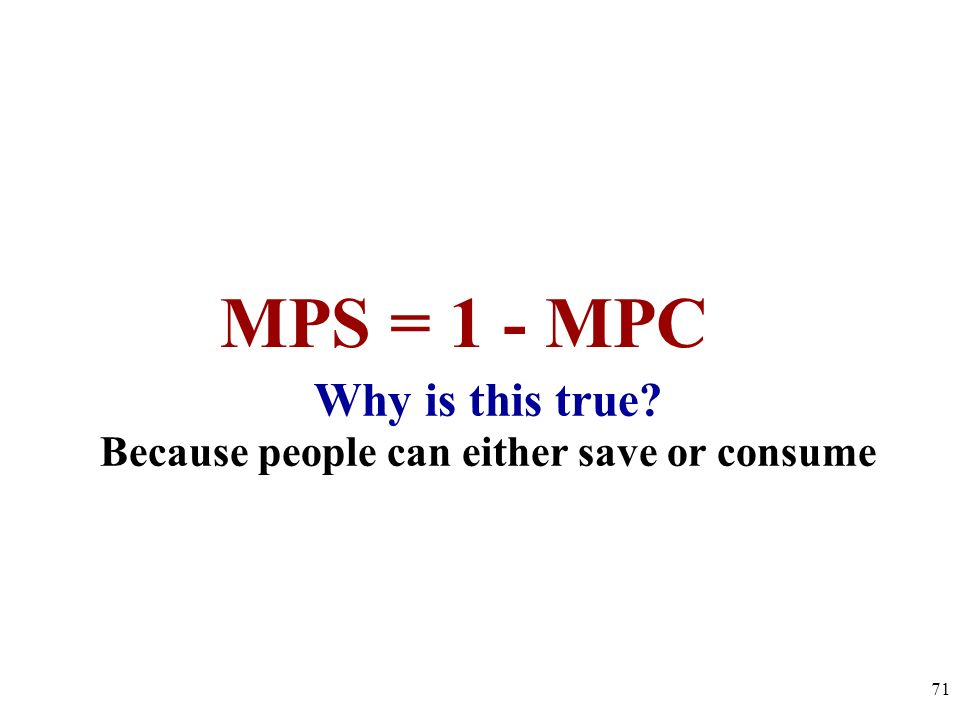Why is this true? Because people can either save or consume 71 MPS = 1 - MPC