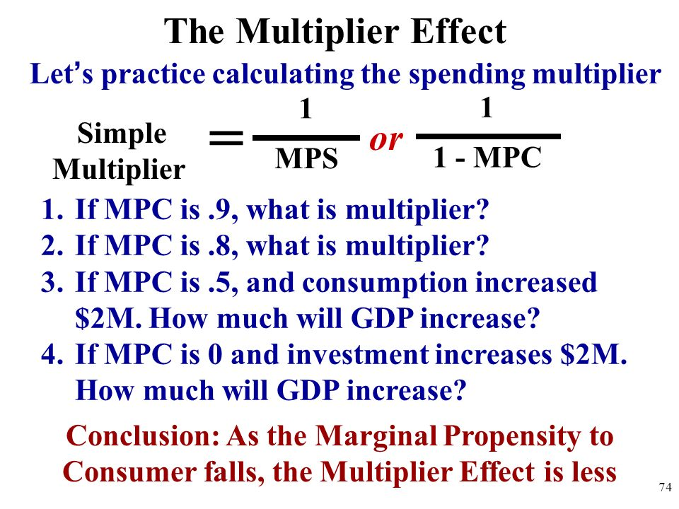 The Multiplier Effect Lets practice calculating the spending multiplier Simple Multiplier = or 1 MPS 1 1 - MPC 1.If MPC is.9, what is multiplier? 2.If
