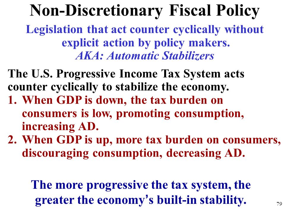 Non-Discretionary Fiscal Policy Legislation that act counter cyclically without explicit action by policy makers. AKA: Automatic Stabilizers The U.S.