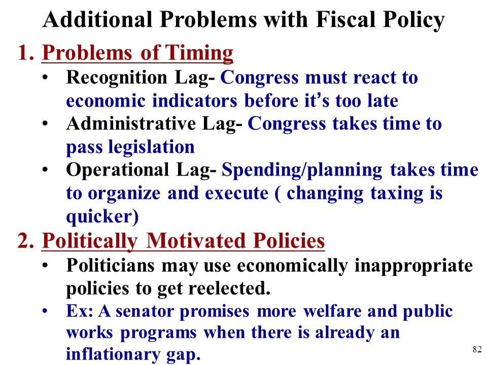 Additional Problems with Fiscal Policy 1.Problems of Timing Recognition Lag- Congress must react to economic indicators before its too late Administra