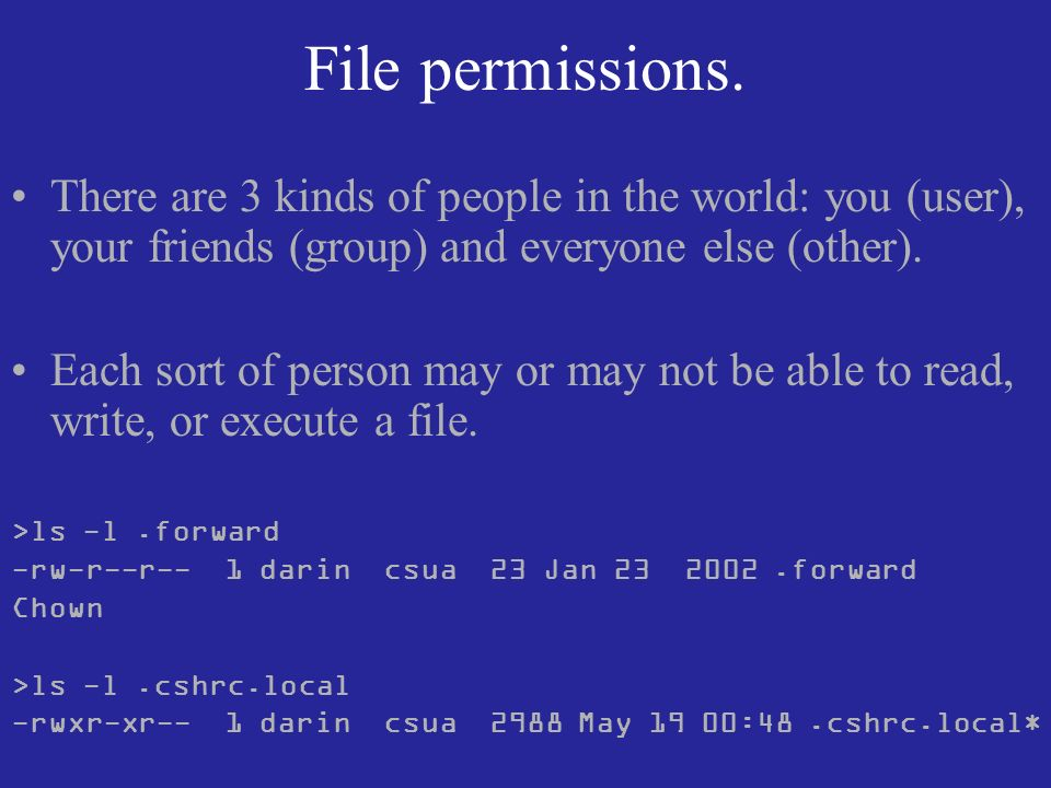 File permissions. There are 3 kinds of people in the world: you (user), your friends (group) and everyone else (other). Each sort of person may or may