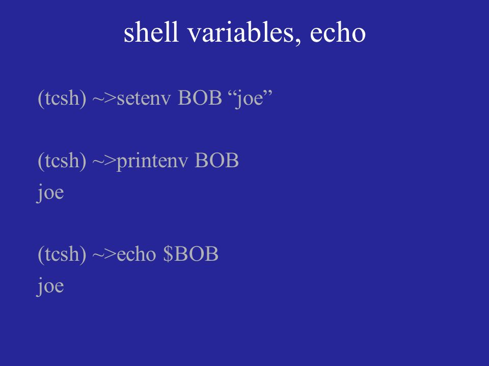 shell variables, echo (tcsh) ~>setenv BOB joe (tcsh) ~>printenv BOB joe (tcsh) ~>echo $BOB joe