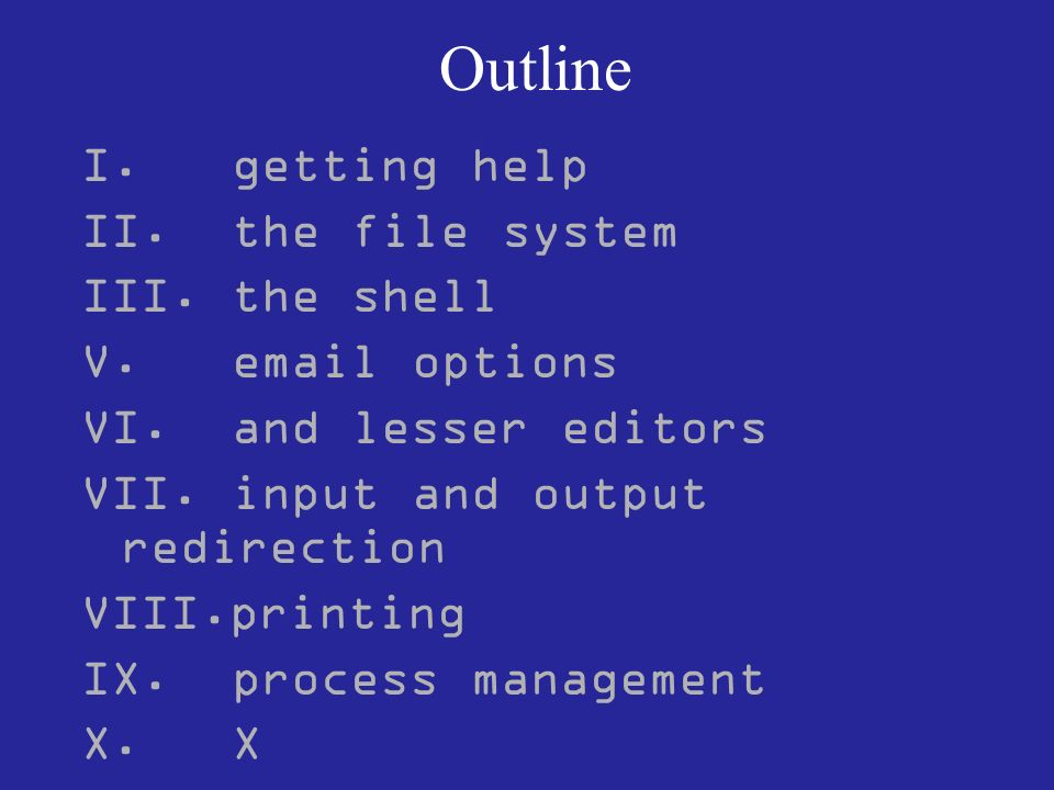 Outline I.getting help II. the file system III. the shell V.