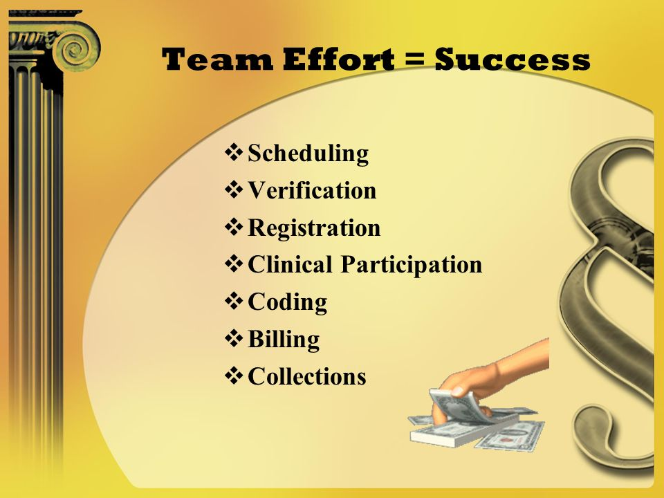 Team Effort = Success Scheduling Verification Registration Clinical Participation Coding Billing Collections