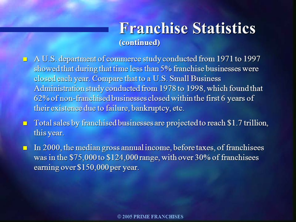 © 2005 PRIME FRANCHISES Franchise Statistics (continued) n A U.S. department of commerce study conducted from 1971 to 1997 showed that during that tim