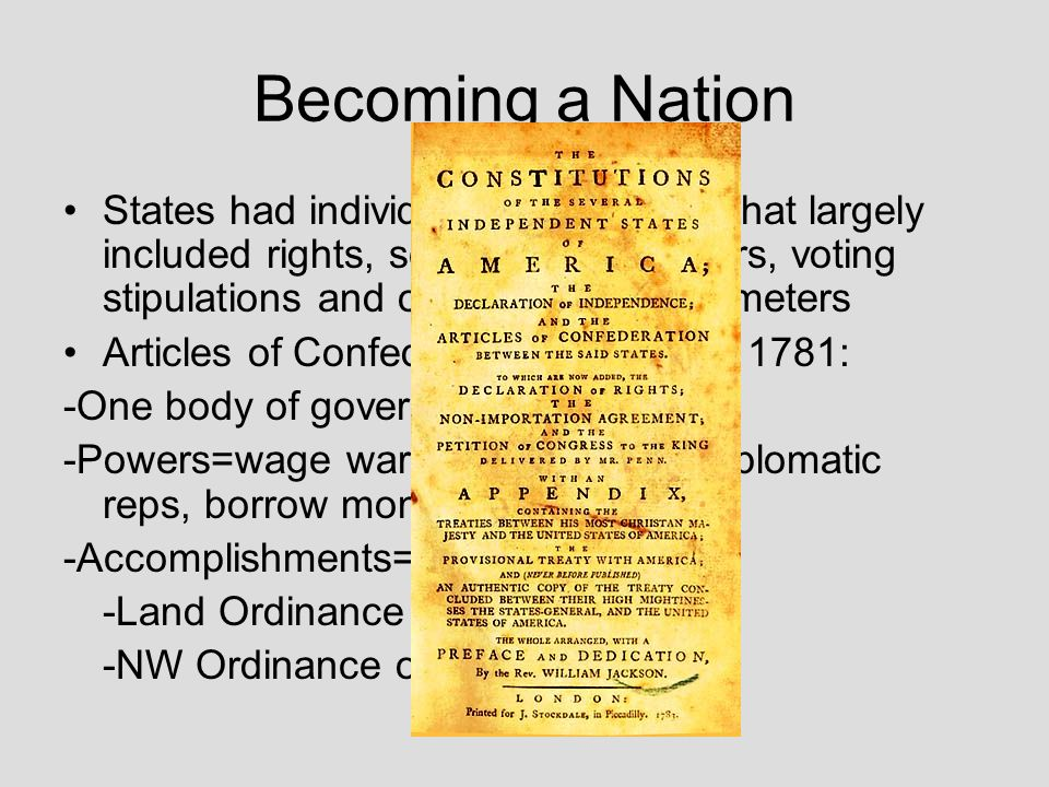 Becoming a Nation States had individual constitutions that largely included rights, separation of powers, voting stipulations and office holding param