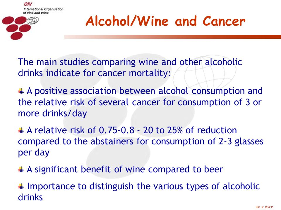 O.I.V. 2010/10 Alcohol/Wine and Cancer The main studies comparing wine and other alcoholic drinks indicate for cancer mortality: A positive associatio
