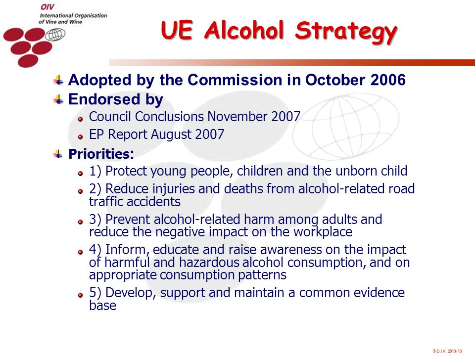 O.I.V. 2010/10 UE Alcohol Strategy Adopted by the Commission in October 2006 Endorsed by Council Conclusions November 2007 EP Report August 2007 Prior