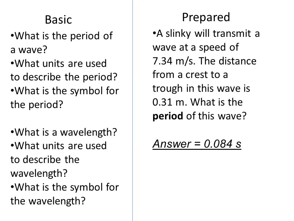 Basic Prepared What is the period of a wave? What units are used to describe the period? What is the symbol for the period? What is a wavelength? What