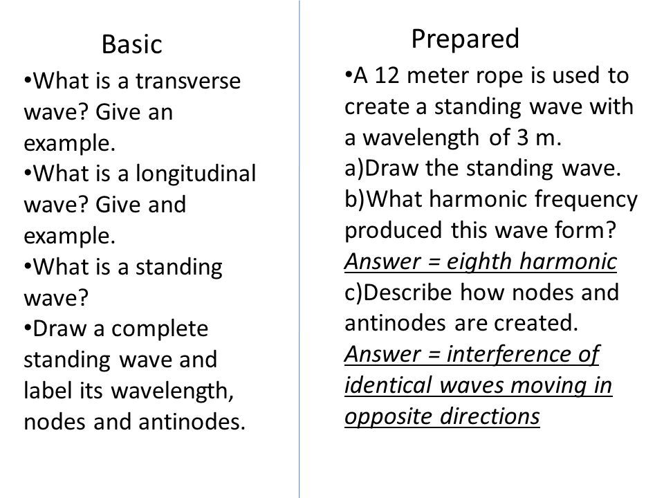 Basic Prepared What is a transverse wave? Give an example. What is a longitudinal wave? Give and example. What is a standing wave? Draw a complete sta
