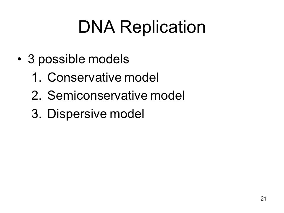 21 DNA Replication 3 possible models 1.Conservative model 2.Semiconservative model 3.Dispersive model