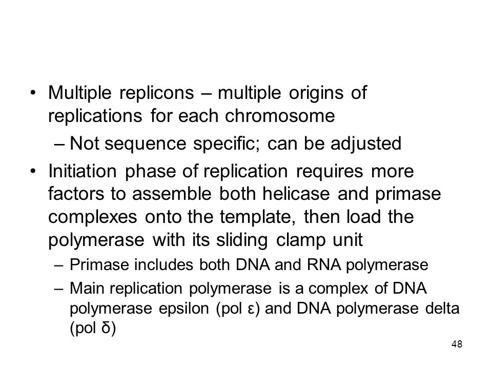48 Multiple replicons – multiple origins of replications for each chromosome –Not sequence specific; can be adjusted Initiation phase of replication r
