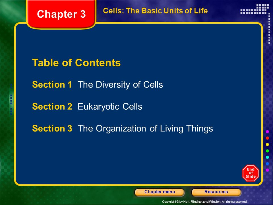 Copyright © by Holt, Rinehart and Winston. All rights reserved. ResourcesChapter menu Cells: The Basic Units of Life Table of Contents Section 1 The D