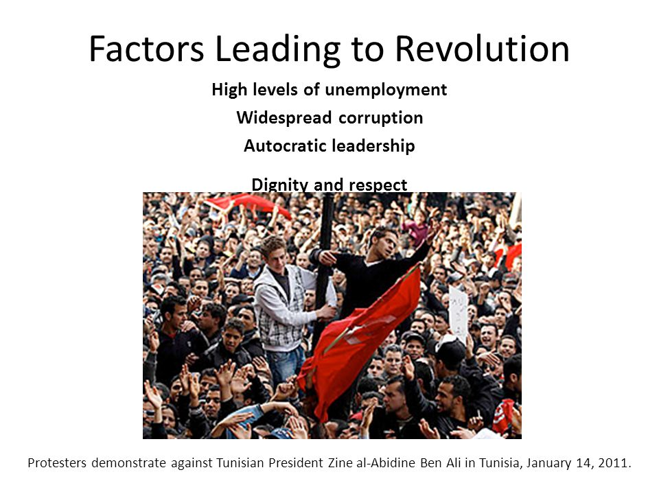 Factors Leading to Revolution High levels of unemployment Widespread corruption Autocratic leadership Dignity and respect Protesters demonstrate again