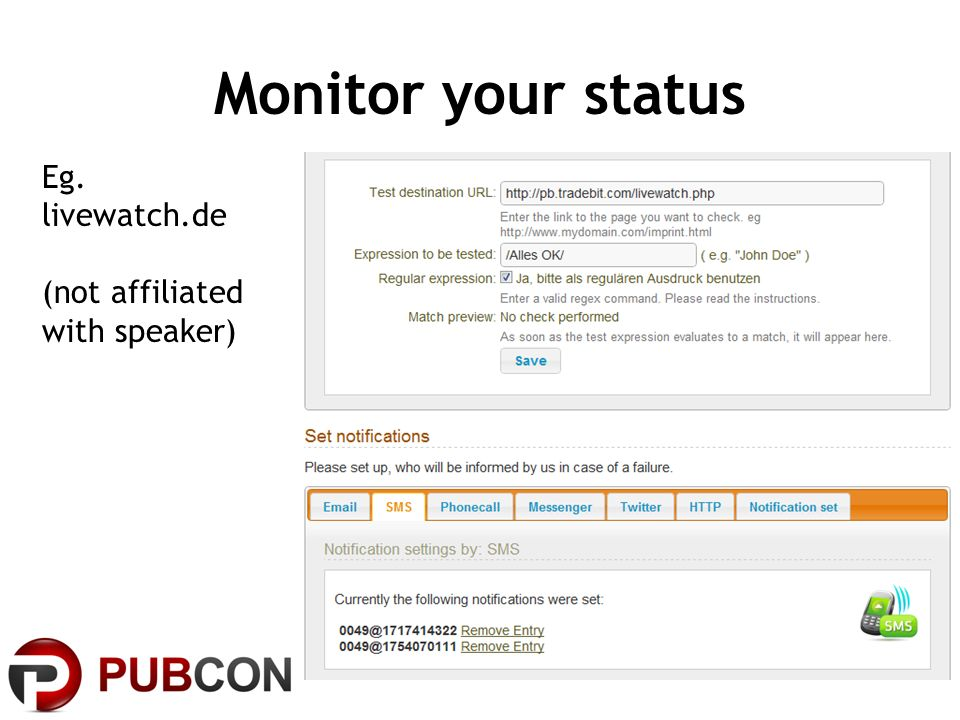 Monitor your status Eg. livewatch.de (not affiliated with speaker)