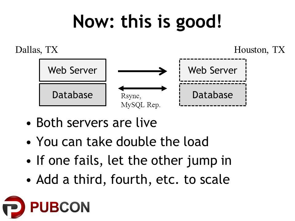Now: this is good. Web Server Database Web Server Database Dallas, TXHouston, TX Rsync, MySQL Rep.