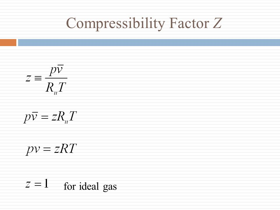 Compressibility Factor Z for ideal gas