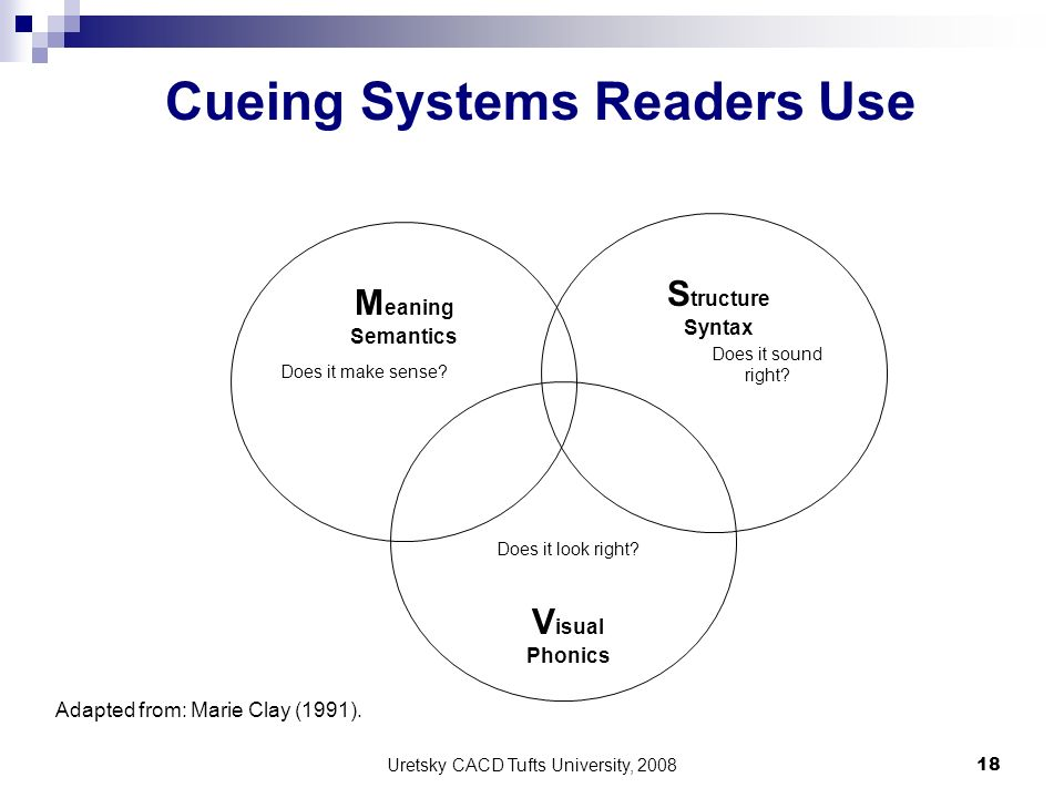 Uretsky CACD Tufts University, 2008 18 M eaning Semantics S tructure Syntax V isual Phonics Does it make sense? Does it look right? Does it sound righ