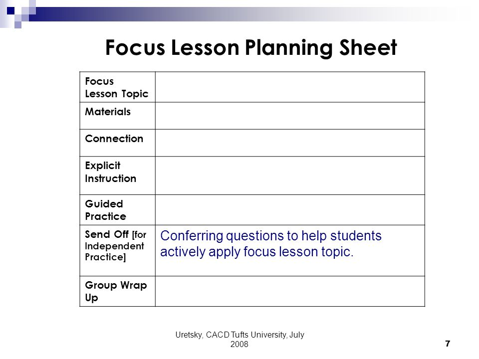 Uretsky, CACD Tufts University, July 2008 7 Focus Lesson Planning Sheet Focus Lesson Topic Materials Connection Explicit Instruction Guided Practice Send Off [for Independent Practice] Conferring questions to help students actively apply focus lesson topic.