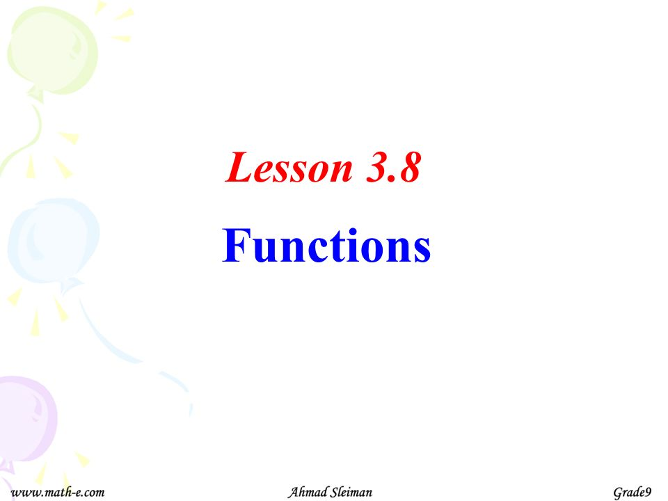Functions Lesson 3.8