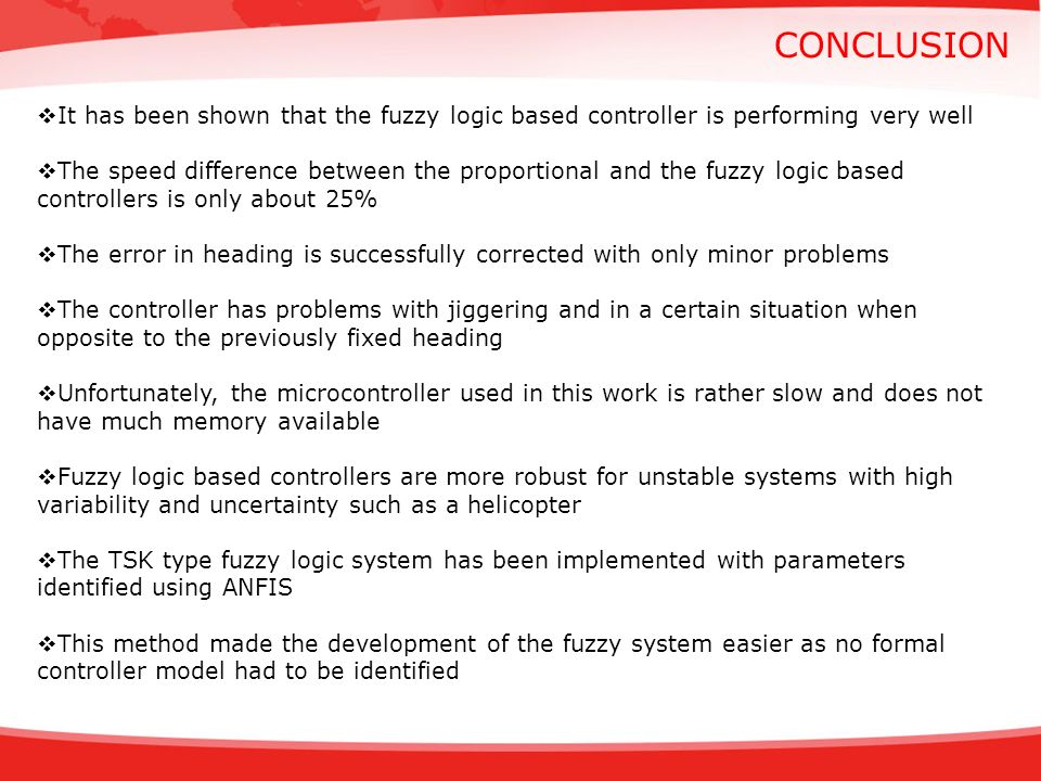 CONCLUSION It has been shown that the fuzzy logic based controller is performing very well The speed difference between the proportional and the fuzzy