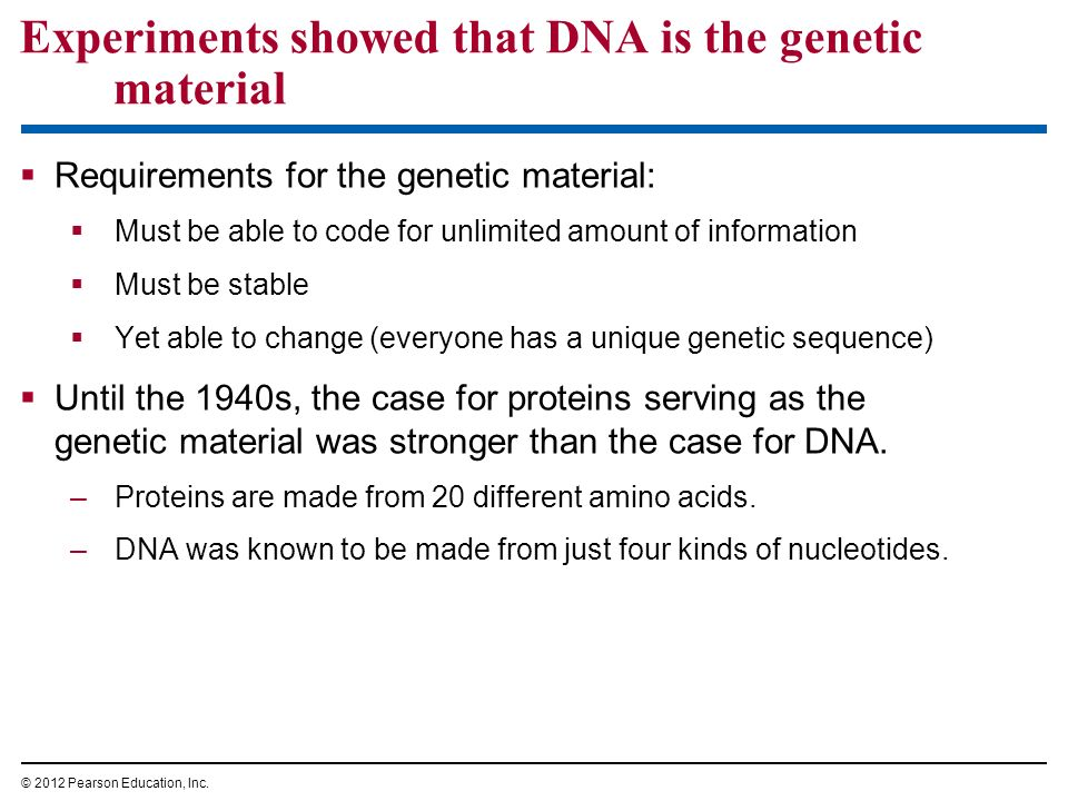 Experiments showed that DNA is the genetic material Requirements for the genetic material: Must be able to code for unlimited amount of information Mu
