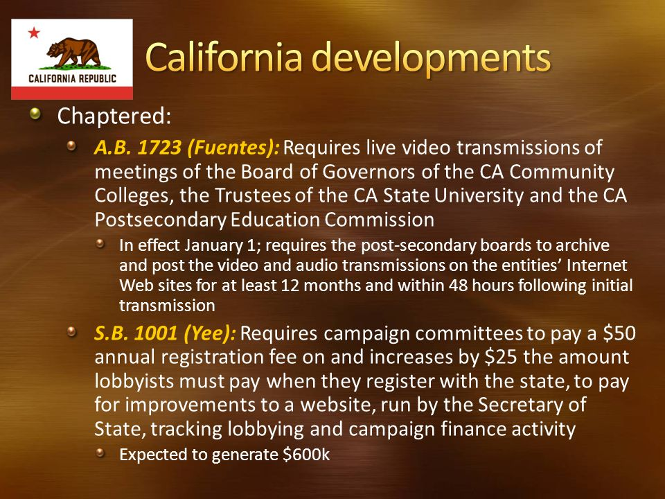 Chaptered: A.B. 1723 (Fuentes): Requires live video transmissions of meetings of the Board of Governors of the CA Community Colleges, the Trustees of