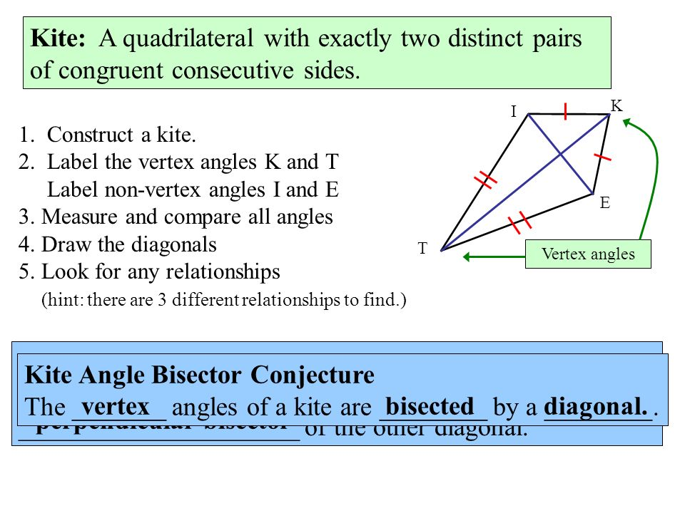 Kite: 1. Construct a kite. 2. Label the vertex angles K and T Label non-vertex angles I and E 3.